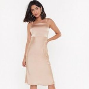 Midi Dress Champagne Gold Color Dress